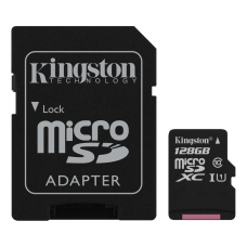 Kingston 128GB microSDXC Klass 10 UHS-I 45MB/s läs, inkl SD Adapter