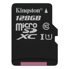 Kingston 128GB microSDXC-kort, Klass 10 UHS-I, 45MB/s läshastighet