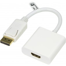 DELTACO DisplayPort till HDMI adapter, 20-pin ha - ho, 0,2m, vit