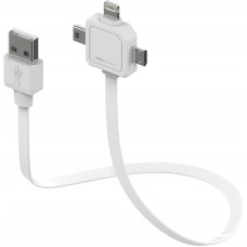 allocacoc Multi USB-kabel, USB- A/ Lightning /Micro/Mini-B, 0,8m, vit