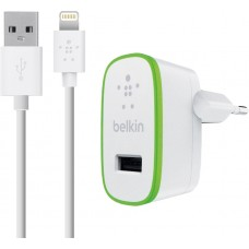 Belkin SINGLE MICRO AC CHARGER,5V,2.4A,W/4' LTG CBL,WHT
