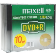 Maxell DVD+R 10-pack slim case, 4,7GB data/120min video, 16x