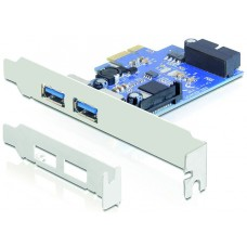 DeLOCK PCI-Express x1 kort, 2xUSB Typ A ho, 19-Pin USB3.0, LP bracket