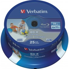 BD-RVerbatim BD-R, 6x, 25GB, 25-pack spindel, printable, LTH Hard Coat